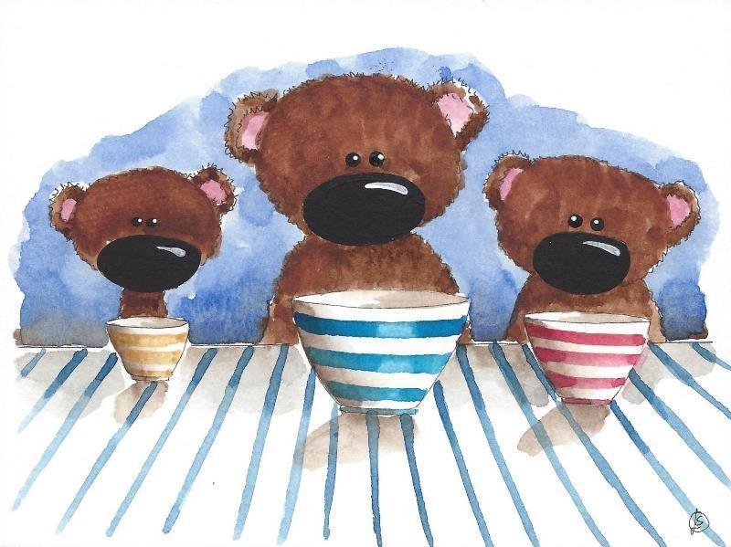 Original watercolor whimsical animal painting three little bears & bowls #Folkartillustration