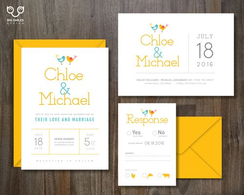 chloe suite cute yellow and teal birds wedding invitations