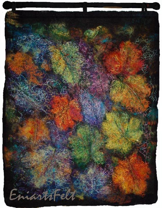 "Fiber art painting ""Autumn leaves "", Felt art picture , wallhanging , Fiber art mixed media , Wall art , Felting and  embroidery , OOAK"