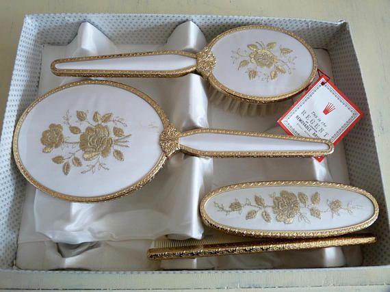 Vintage Hairbrush Mirror Clothes Brush, Dressing Table Brush Comb Mirror Set