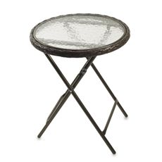 Magnificent 16 Wicker Round Steel Folding Table With Glass Top Bed Cjindustries Chair Design For Home Cjindustriesco