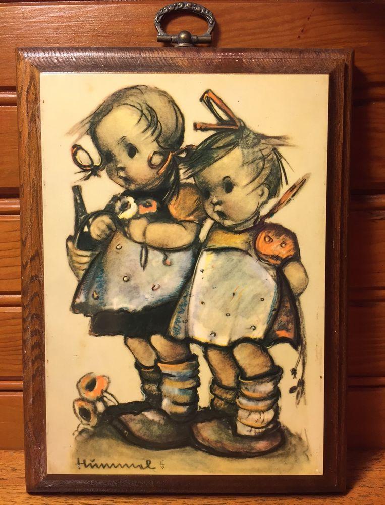 Vtg Hummel Wood Decoupage Hanging Wall Art Plaque Girls Sisters ...