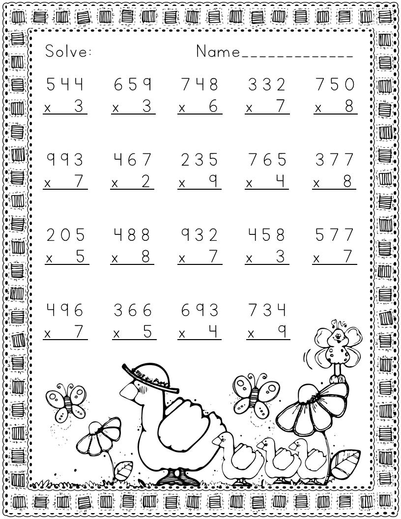 Three Digit Multiplication Spring Themed Multiplication Kids Math Worksheets 2nd Grade Math Worksheets [ 1056 x 816 Pixel ]