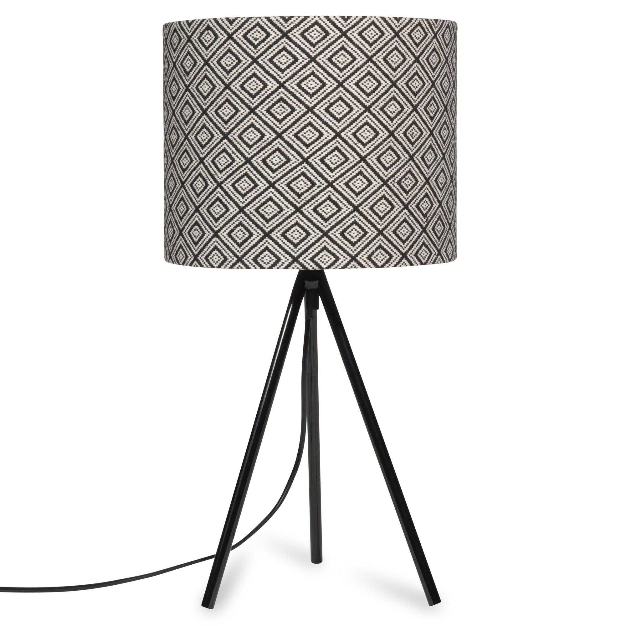 RAJA tripod lamp with black and white motifs