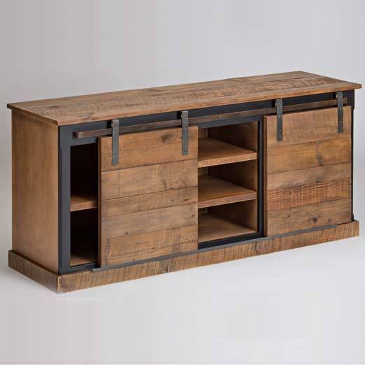 Reclaimed Wood Sliding Barn Door Console