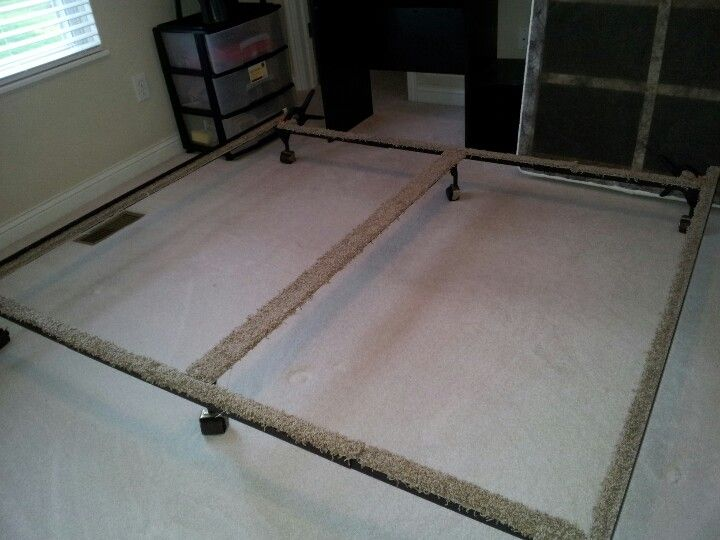 Line your bed frames in leftover carpet! We did this to ...