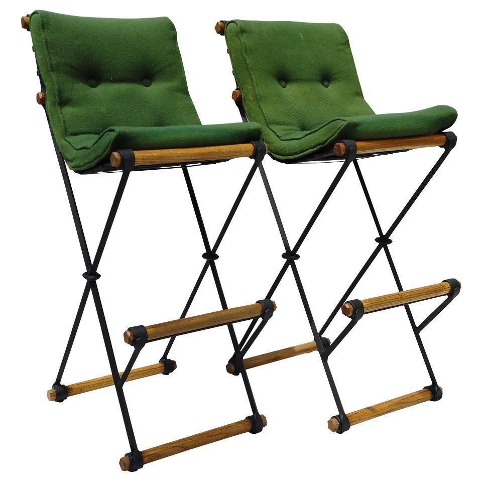 pair of cleo baldon high back bar stools circa 1965 for sale