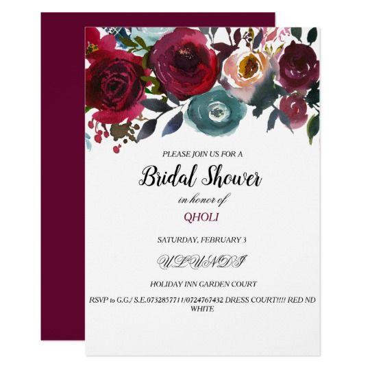 Burgundy Red Wine Bridal Shower Invitation