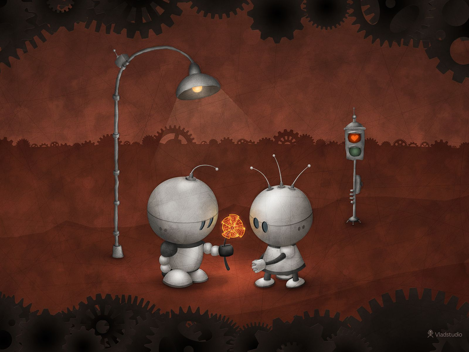 robots in love a· desktop wallpapers a· vladstudio for chicky