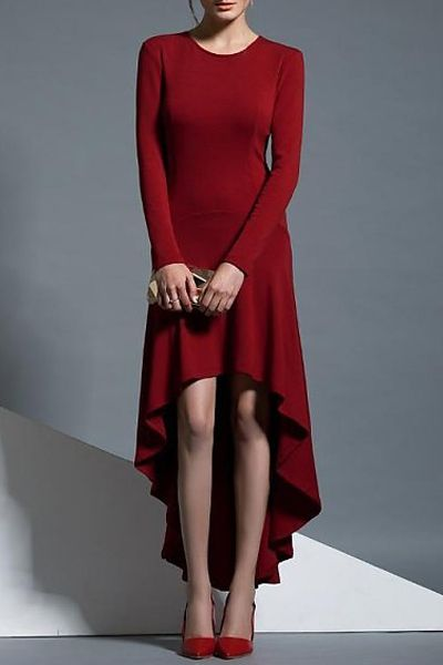 b0b4600659 Wine Red Round Neck Long Sleeve High Low Dress