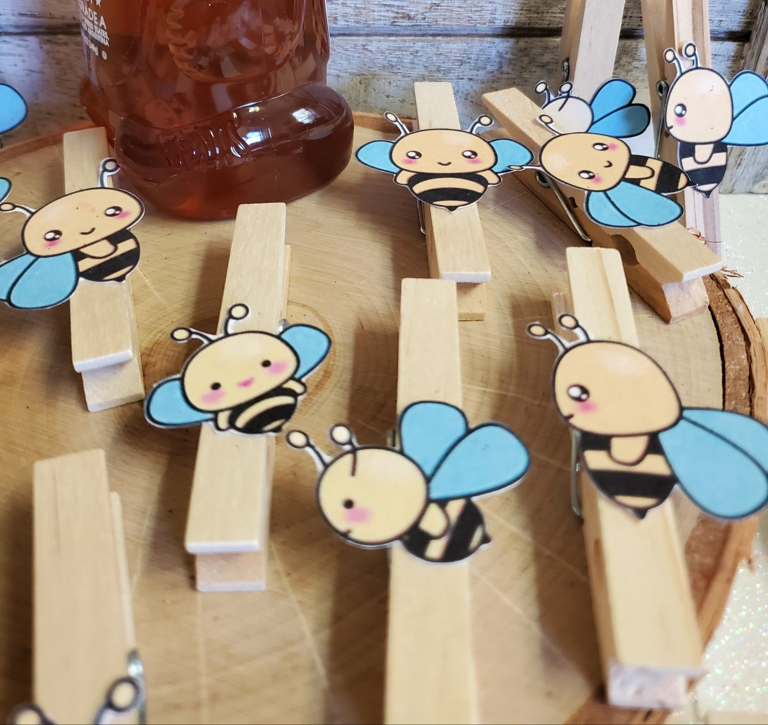 CraftSeaco etsy honey bee clothespins bee baby shower