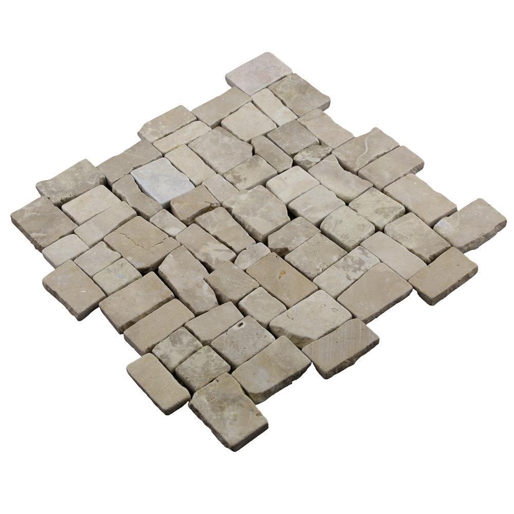 Cruz Bay Block Tile Tan 113/4 in. x 113/4 in. x 9.5 mm