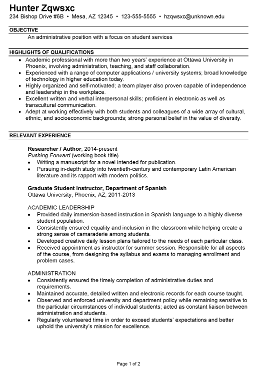 Combination Resume Sample College Administration Student Services Teaching Resume Examples Job Resume Examples Teaching Resume