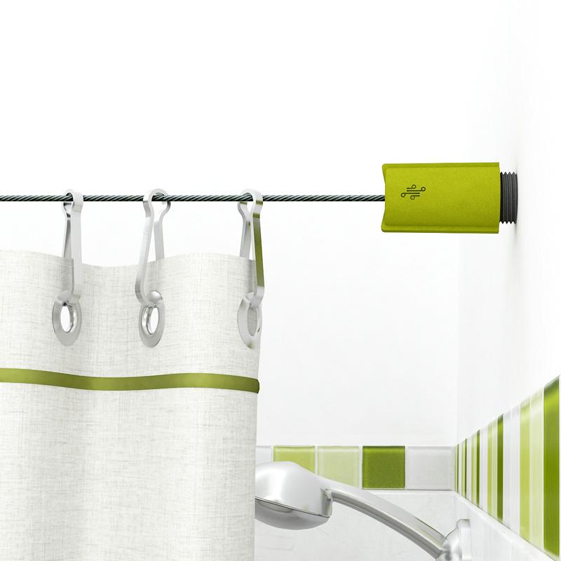 Barral De Cable Tensado Para Baño Modelo Lisboa Verde Curtains Bathtub Bathroom