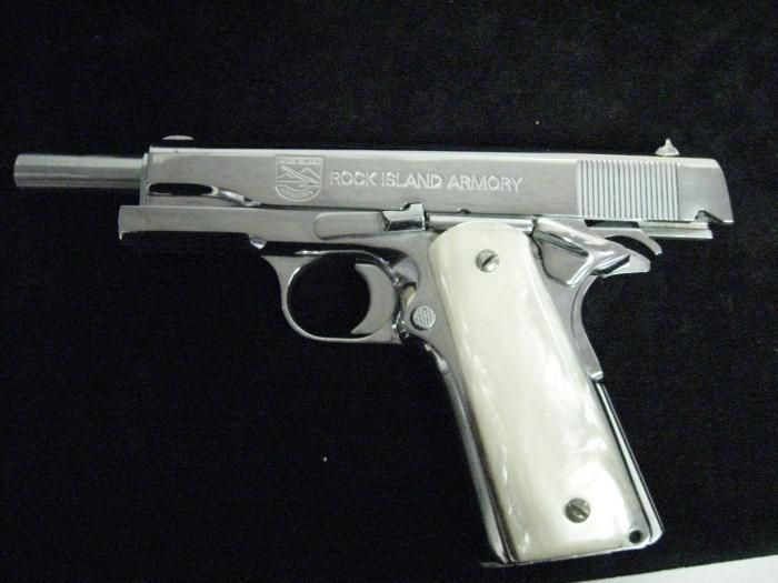 rock island armory 1911  38 super nickel plated pistol