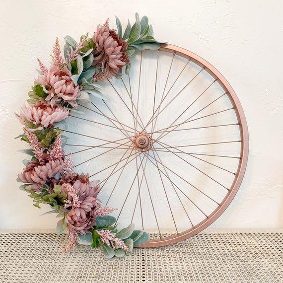 Photo of Floral WreathBike Wheel Wreath/ Spring Wreath/ Farmhouse Wall Decor/ Pink Flower Wreath/ Rustic Garden Wreath