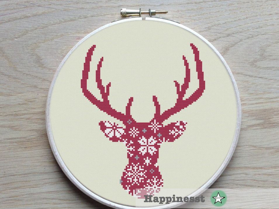 cross stitch pattern deer silhouette nordic style by Happinesst