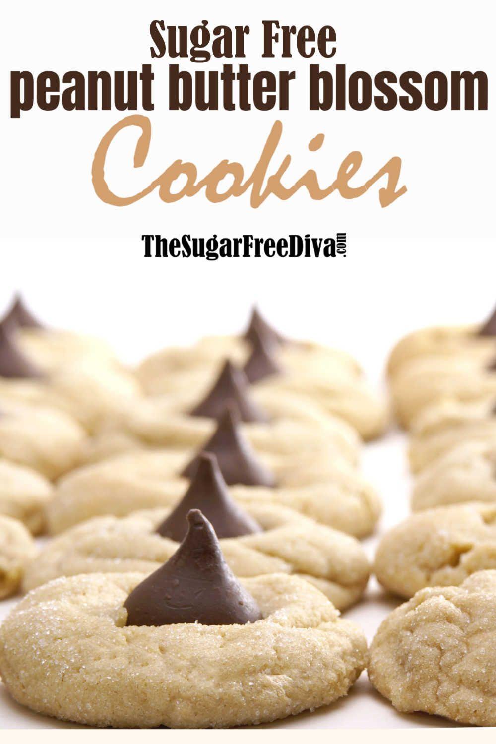 Sugar Free Peanut Butter Blossom Cookies - THE SUGAR FREE DIVA #peanutbutterblossomcookies