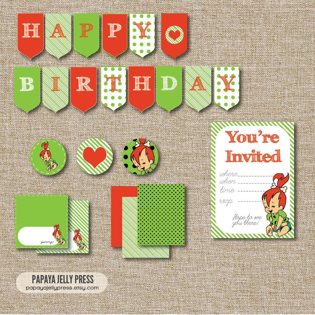 PEBBLES FLINTSTONE Birthday Printables By PapayaJellyPress