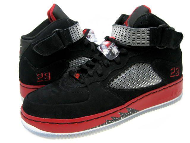 Air Jordan Fusion 5 Black Varsity Red White Sneakers