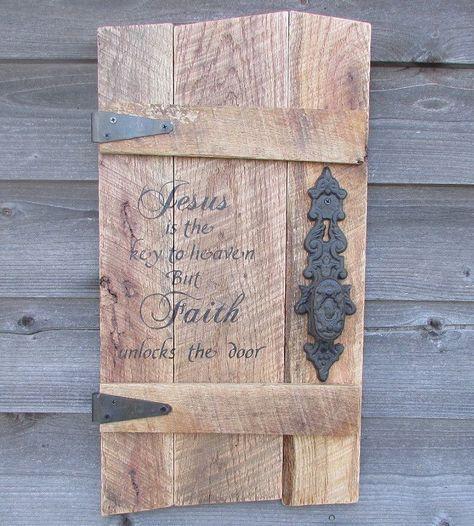 Wood pallet sign with door knob primitive rustic wood sign