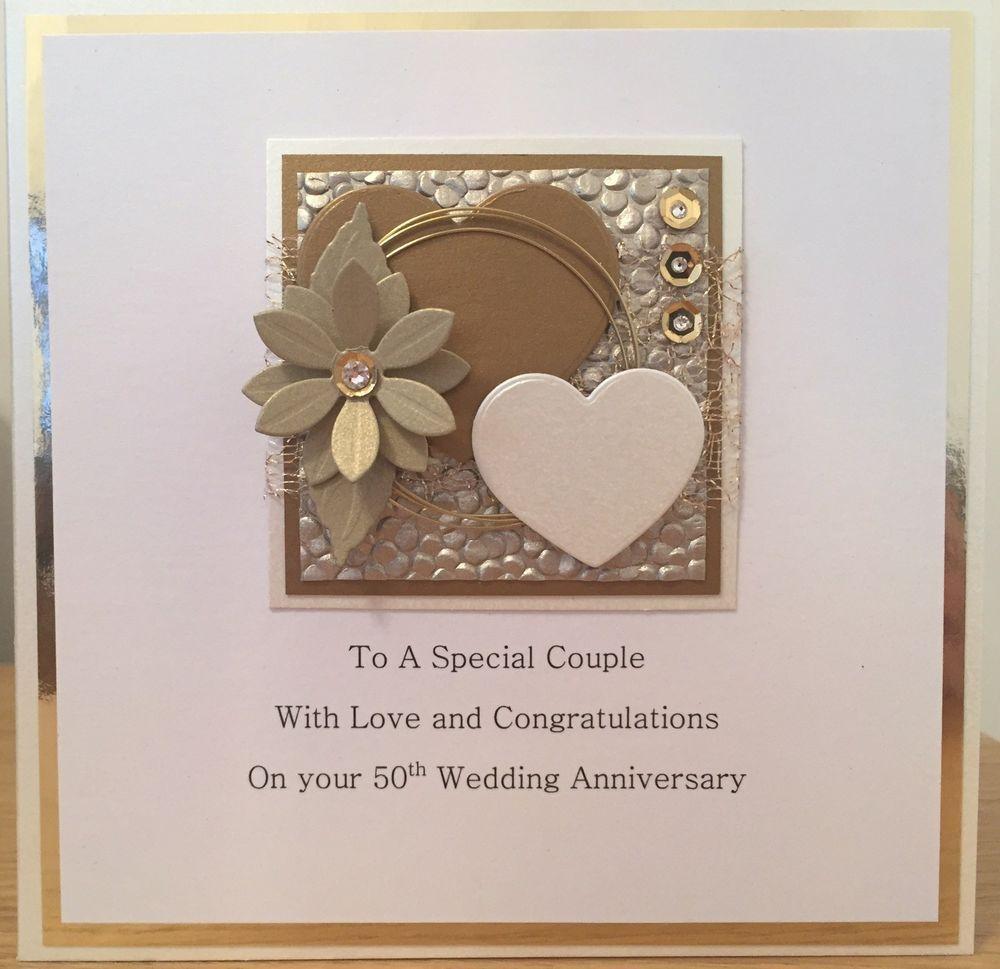 Golden Wedding 50th Anniversary Personalised Hand Made Card Ebay Anniversary Cards Handmade 50th Anniversary Cards Wedding Anniversary Cards