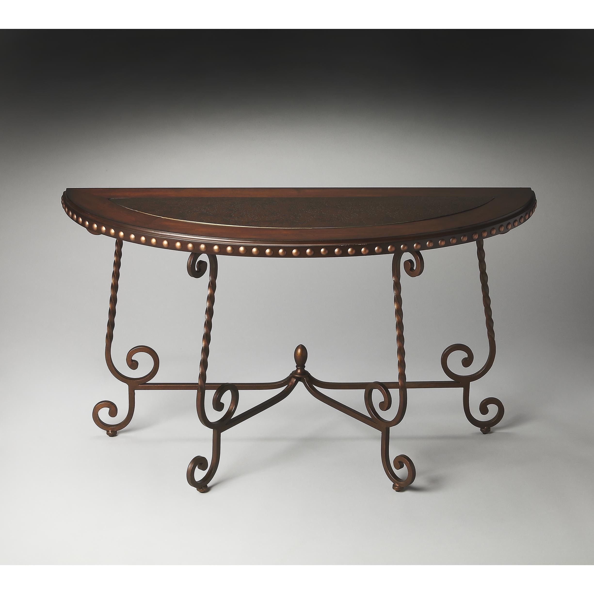 butler nottingham metal wood demilune console table multi color