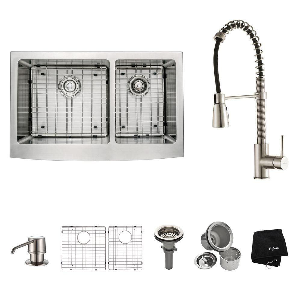 All In One Farmhouse A Front Stainless Steel Silver 33 Double Basin Kitchen Sink With Faucet