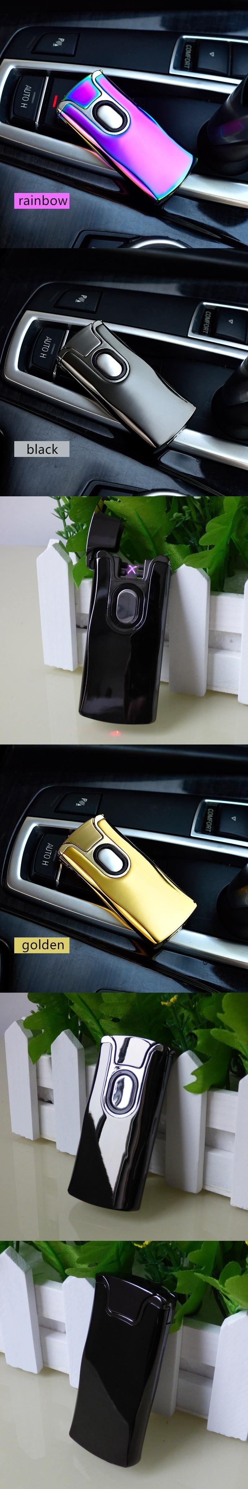 USB Thunder Lighter Rechargeable Electronic Lighter Cigarette Plasma Double  Arc Palse Pulse Windproof Car Gadgets For