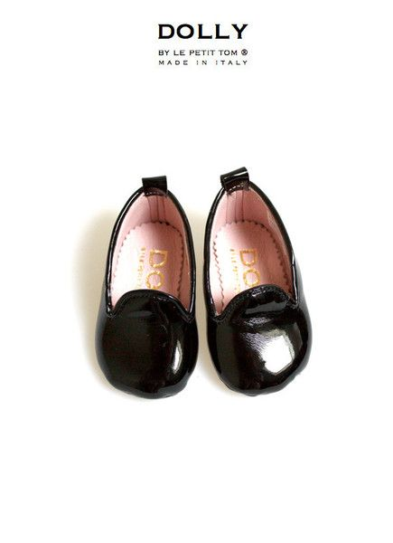 DOLLY by Le Petit Tom ® BABY Smoking Slippers 6SL black patent