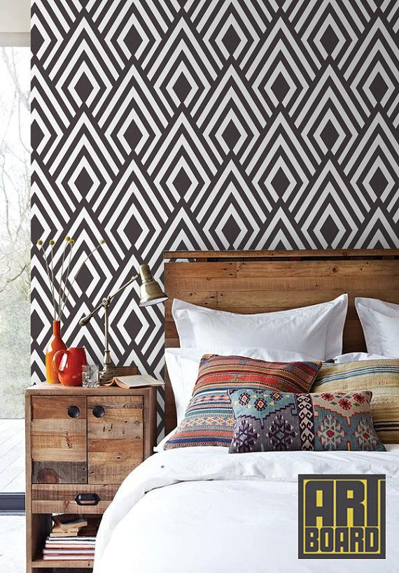 Diamond Pattern Self Adhesive Diy Wallpaper Home By Artboard And Love The Wooden Nightstand Contrast Warm Cold Wood Black White Walls