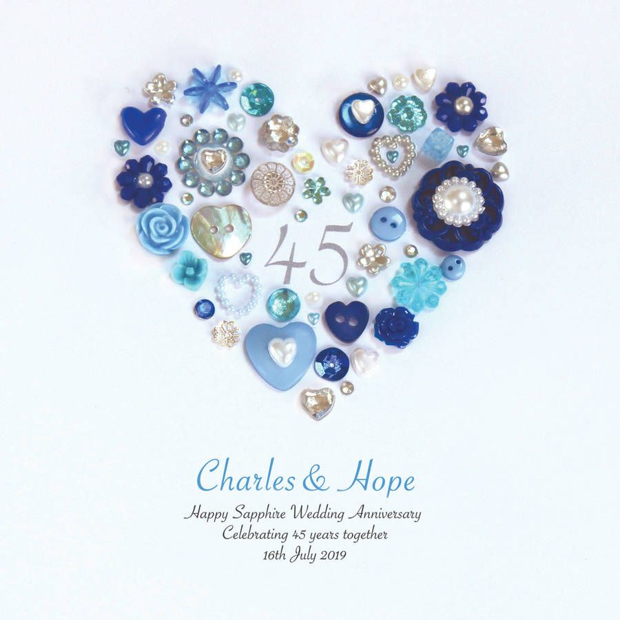 Personalised Sapphire Wedding Anniversary Button Heart By Sweet Dimple