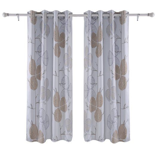 Deconovo Printed White Blackout Curtains Wave Line With Dots
