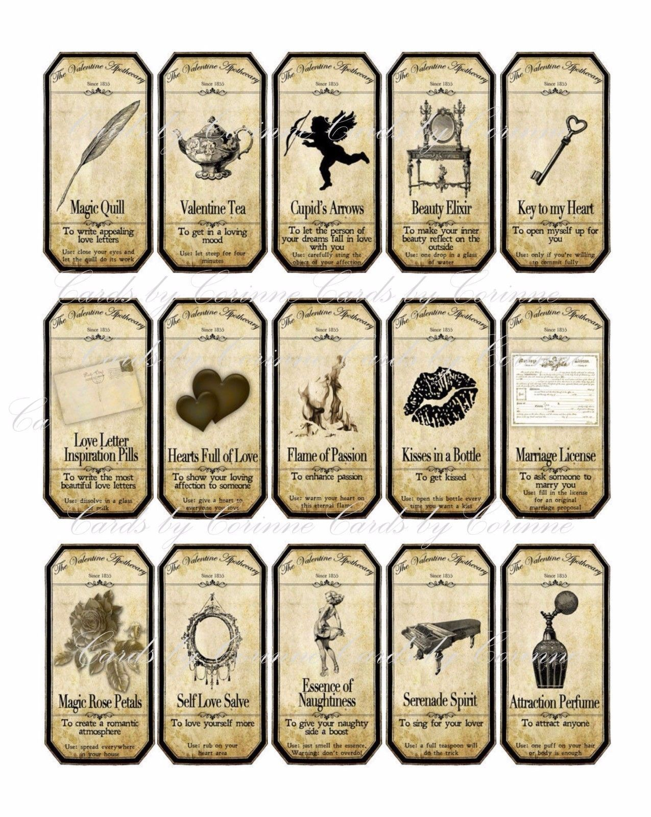 Valentine steampunk apothecary label stickers set of 15 scrapbooking