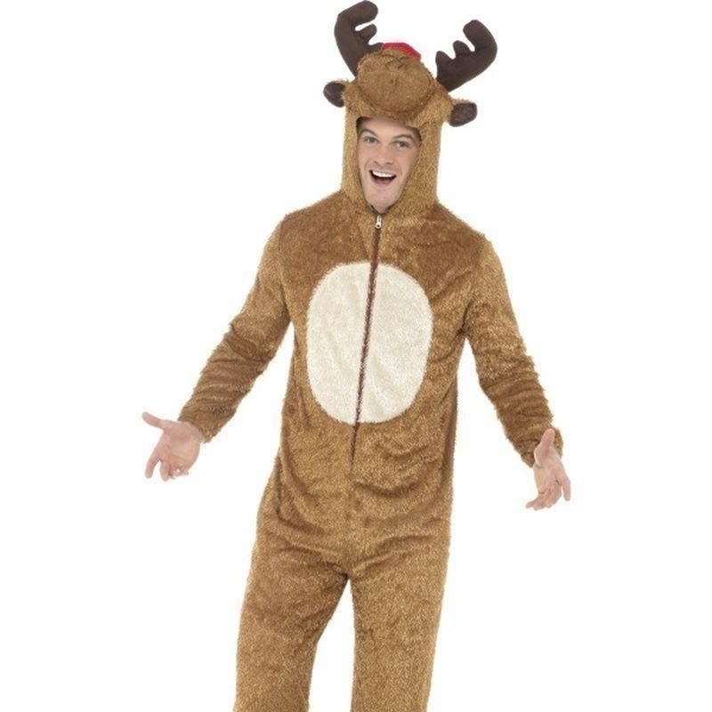 Adult Plush Reindeer Jumpsuit Rudolph Christmas Fancy Dress Costume Outfit