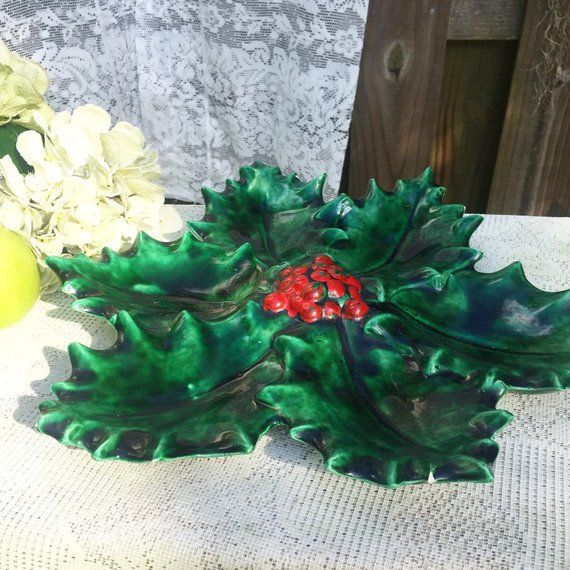 1970 s Holly divided Serving Tray Platter Berry Atlantic