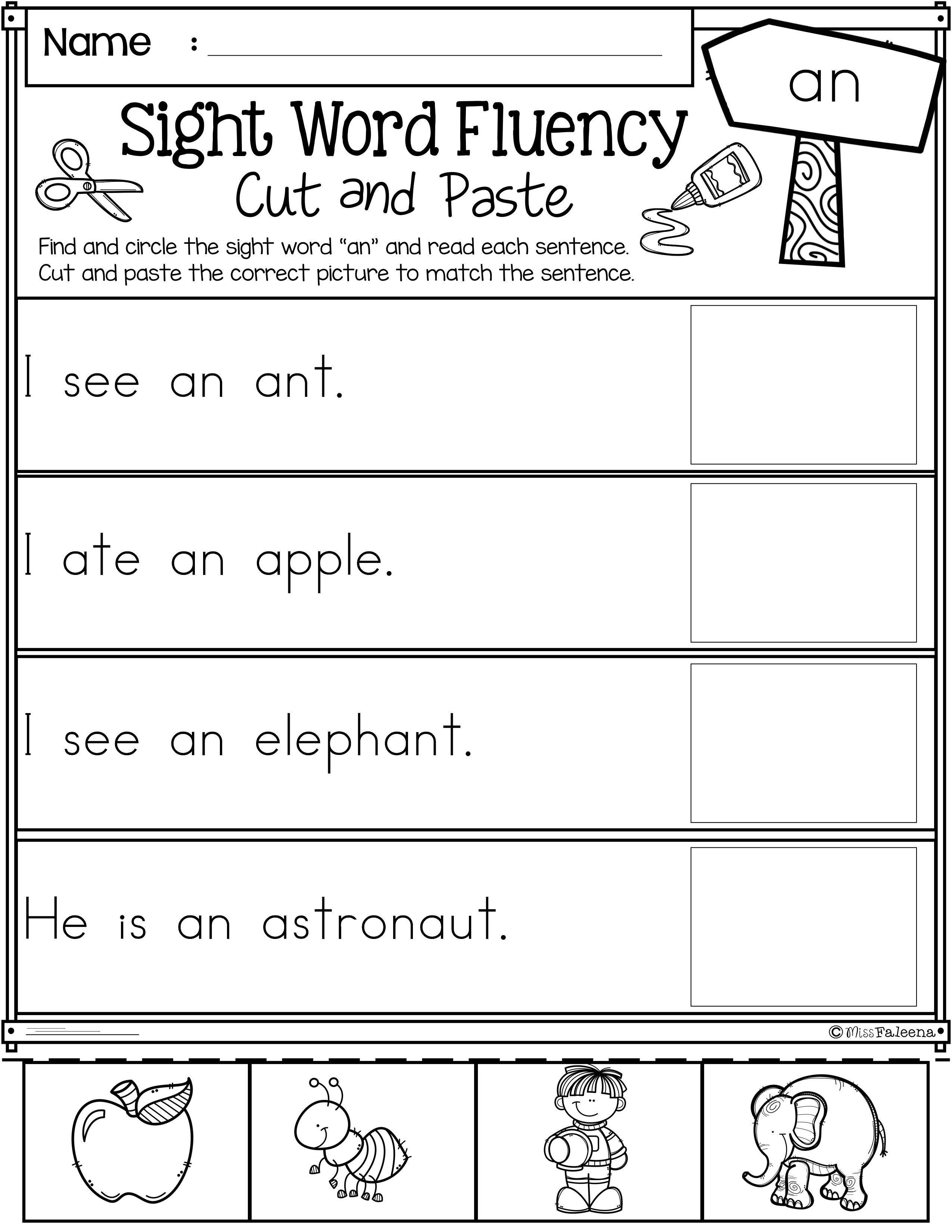 Preschool Worksheet Sight Words In