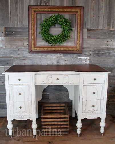 Antique Desk Makeover - Top stained Dark Walnut and the rest painted with  ASCP Old White. I love it! For an antique piece in rough shape, ... - Antique Desk Makeover For The Home Desk Makeover, Antique Desk, Desk