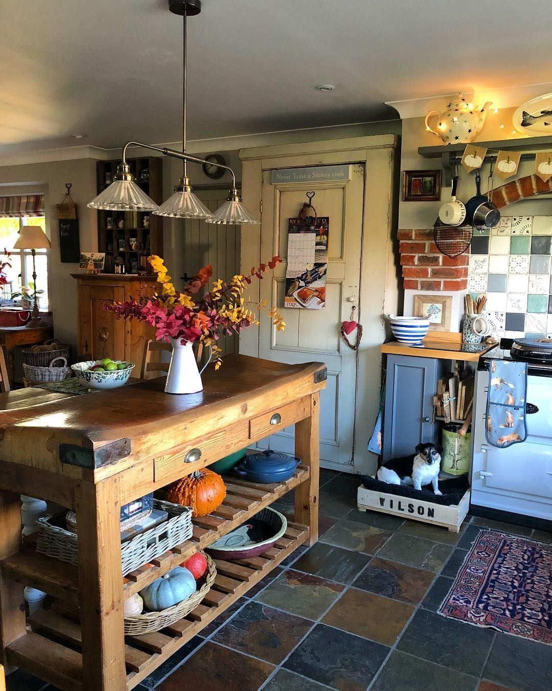 Love Wilson's personal spot there Cottage kitchens, Home