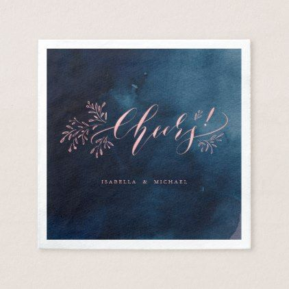 Popular Navy pink calligraphy cheers rustic floral wedding napkin For Your House - Luxury navy napkins Trending