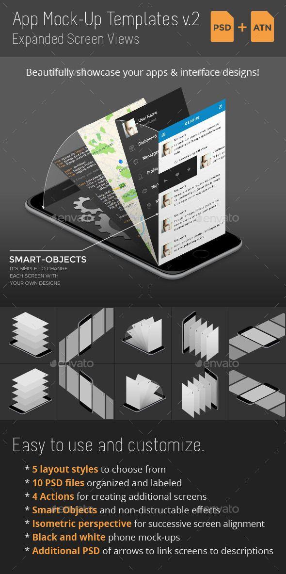 App Mock-Up Templates v2 (Photoshop PSD, CS4, 3000x3000, app mockup