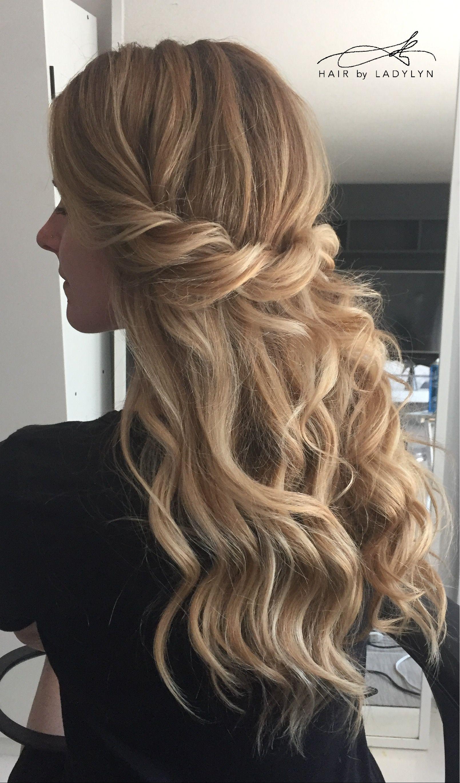 boho wedding hair blonde long loose beach waves half up