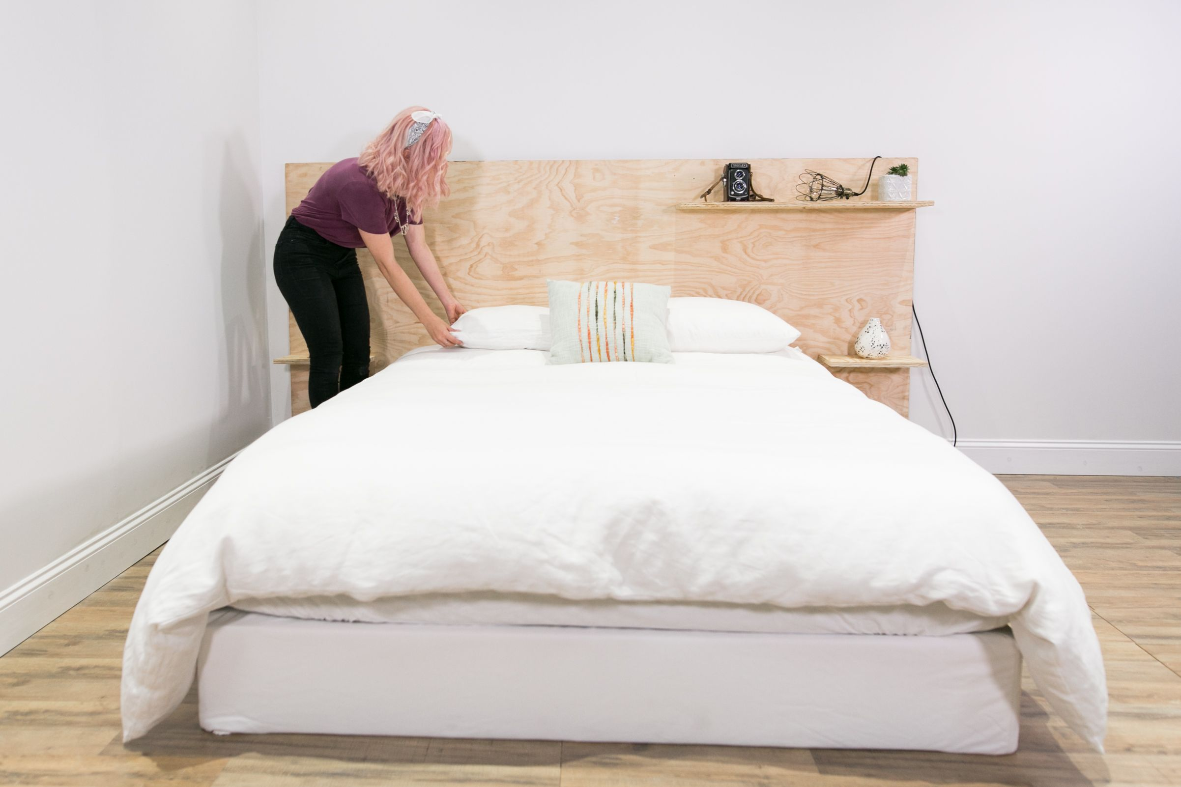 Diy Minimalist Plywood Shelf Headboard Headboard With Shelves Bed Headboard Design Plywood Bed Designs