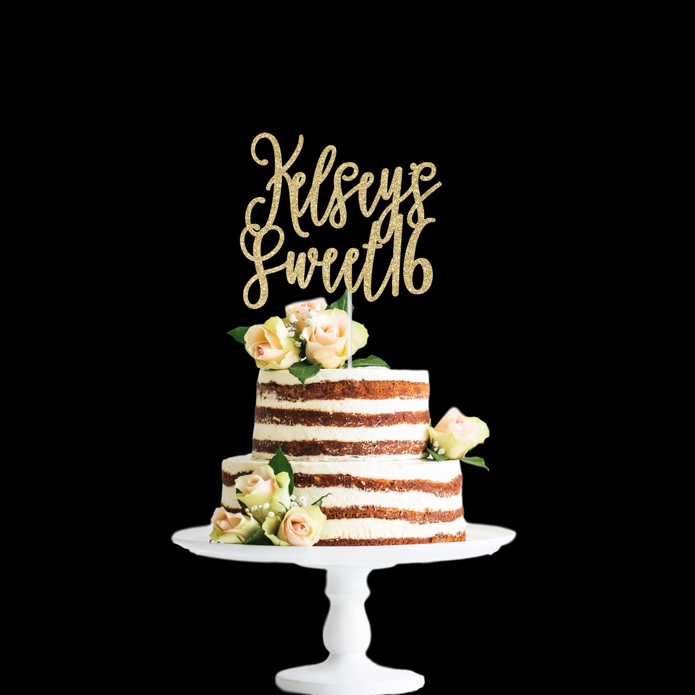 Sweet Sixteen Cake Topper Wedding Party Decorations Silver Glitter KF Sweet 16 Cake Topper 16th Birthday