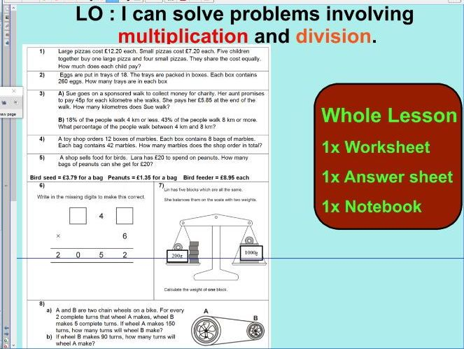 2# Whole Lesson - Multiplication and Division word problems based on ...