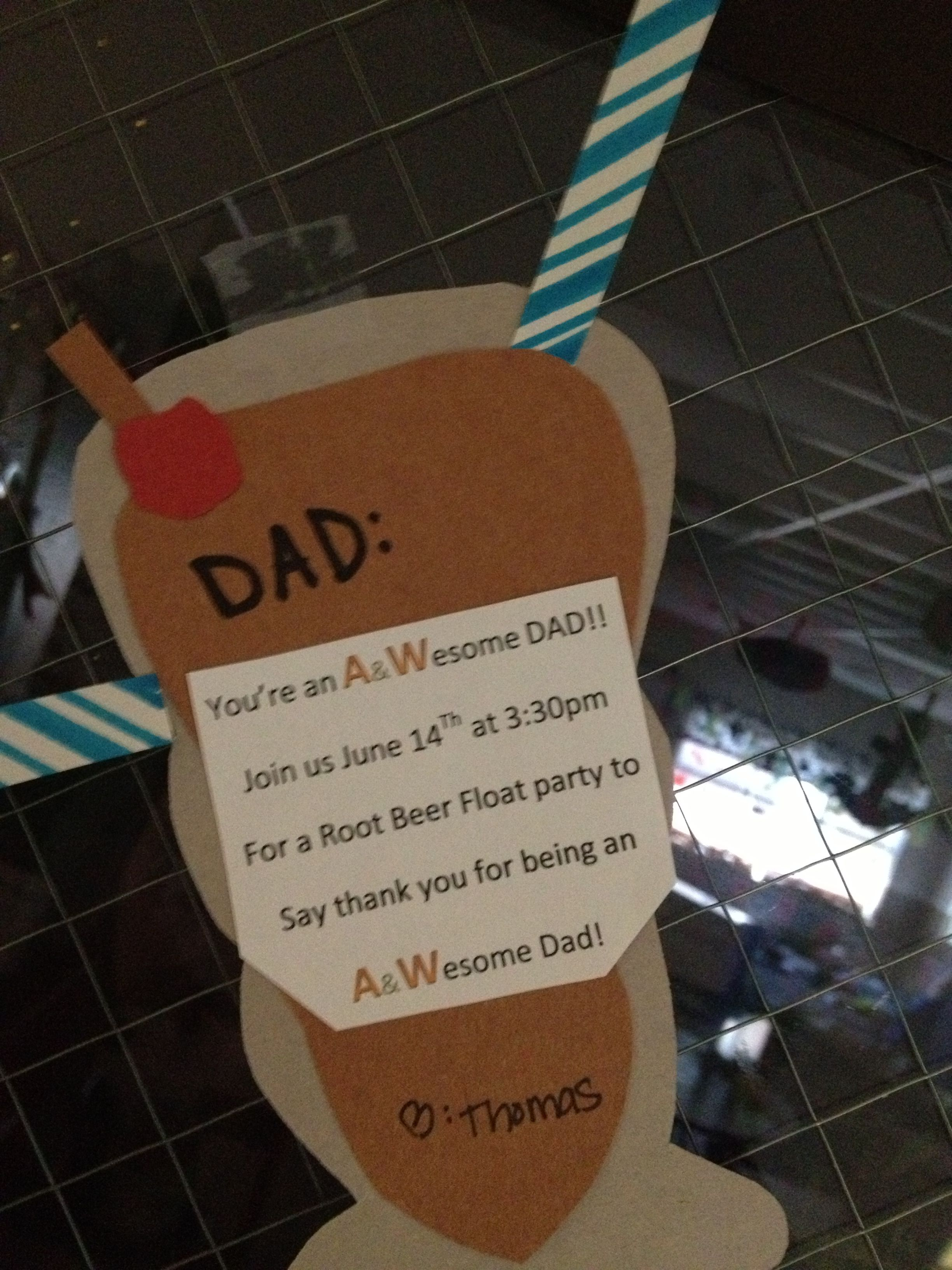 Root Beer Float Invite For Fathers Day