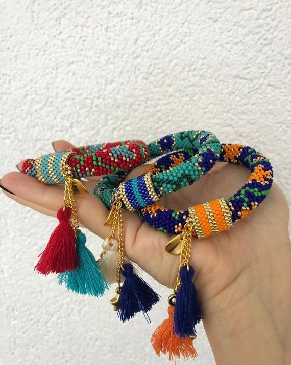 Miyuki seed bead bangle bracelet, bead crochet bracelet for women, miyuki beaded bracelet for gift, Bohem bracelet, statement bracelet