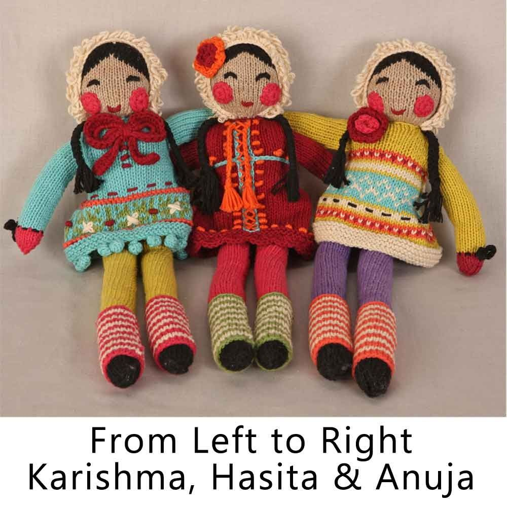 French Knot Napalese Dolls Hand Knit With Hand Embroidered Accents Karishma Means Miracle Hasita Means Happy Anuja Means Younger Sister