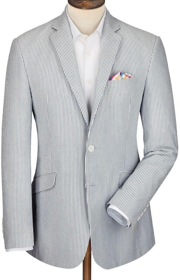 220 Charles Tyrwhitt Blue Stripe Italian Seersucker Slim