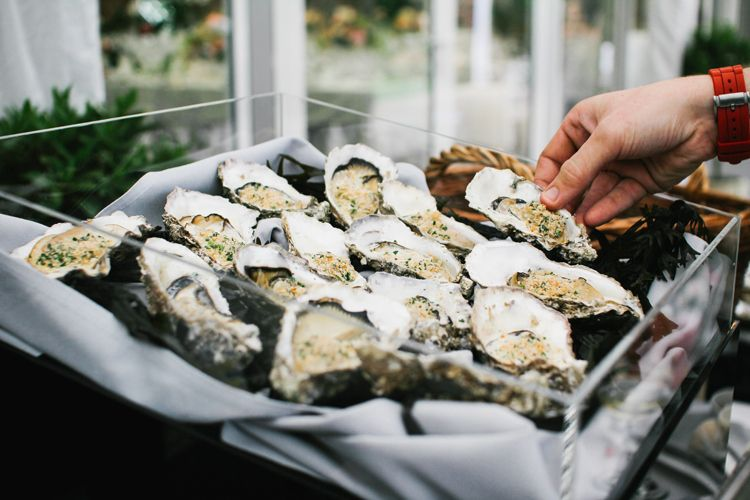 oysters food beautiful english garden blooms marquee wedding http www sansomphotography